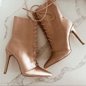 Quipid Satin Pink Lace Up Pump Booties Boots